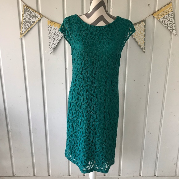 0b1a3e94e5e3 R&K Dresses | Rk Originals Teal Floral Lace Cap Sleeve Dress | Poshmark